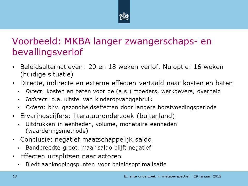 Ex ante onderzoek in metaperspectief   29 januari 2015 Voorbeeld: MKBA langer zwangerschaps- en bevallingsverlof Beleidsalternatieven: 20 en 18 weken