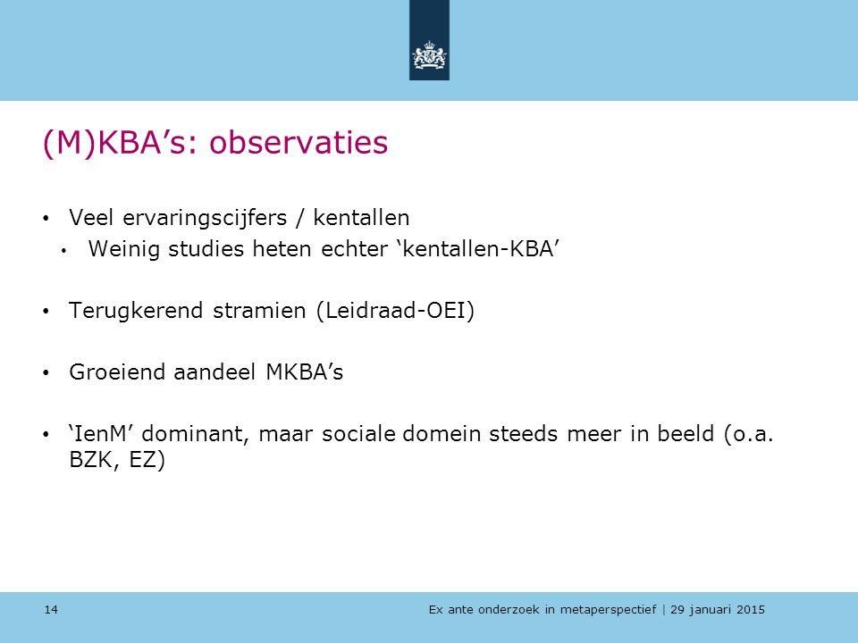 Ex ante onderzoek in metaperspectief   29 januari 2015 (M)KBA's: observaties Veel ervaringscijfers / kentallen Weinig studies heten echter 'kentallen-