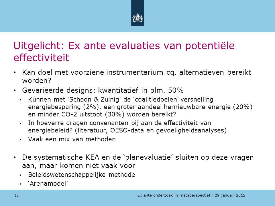 Ex ante onderzoek in metaperspectief   29 januari 2015 Uitgelicht: Ex ante evaluaties van potentiële effectiviteit Kan doel met voorziene instrumentar