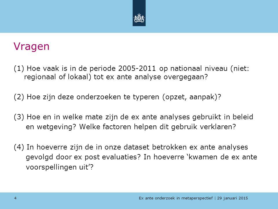 Ex ante onderzoek in metaperspectief   29 januari 2015 Vragen (1) Hoe vaak is in de periode 2005-2011 op nationaal niveau (niet: regionaal of lokaal)