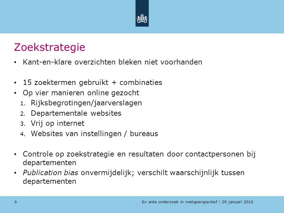 Ex ante onderzoek in metaperspectief   29 januari 2015 Zoekstrategie Kant-en-klare overzichten bleken niet voorhanden 15 zoektermen gebruikt + combina