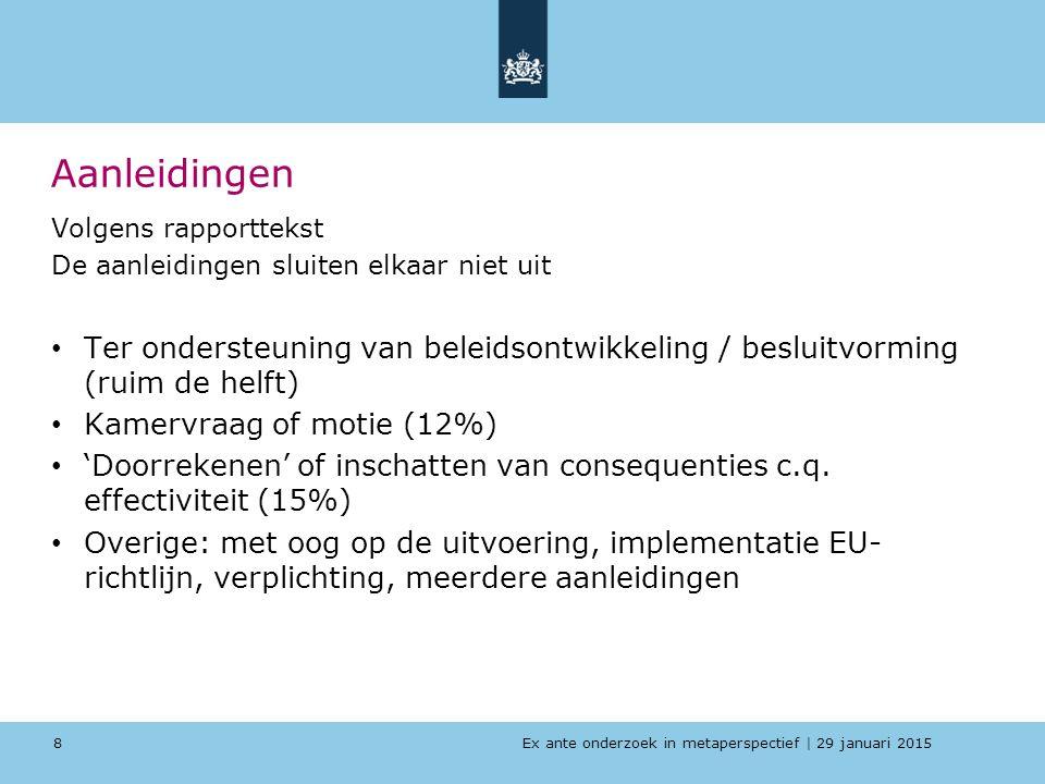 Ex ante onderzoek in metaperspectief   29 januari 2015 Aanleidingen Volgens rapporttekst De aanleidingen sluiten elkaar niet uit Ter ondersteuning van