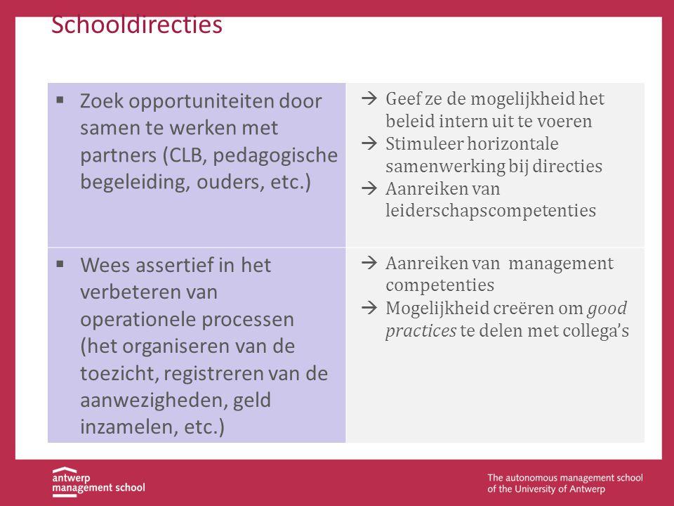 Schooldirecties Zoek opportuniteiten door samen te werken met partners Actief zoeken naar partnerschappen met externe partijen (CLB, pedagogische bege