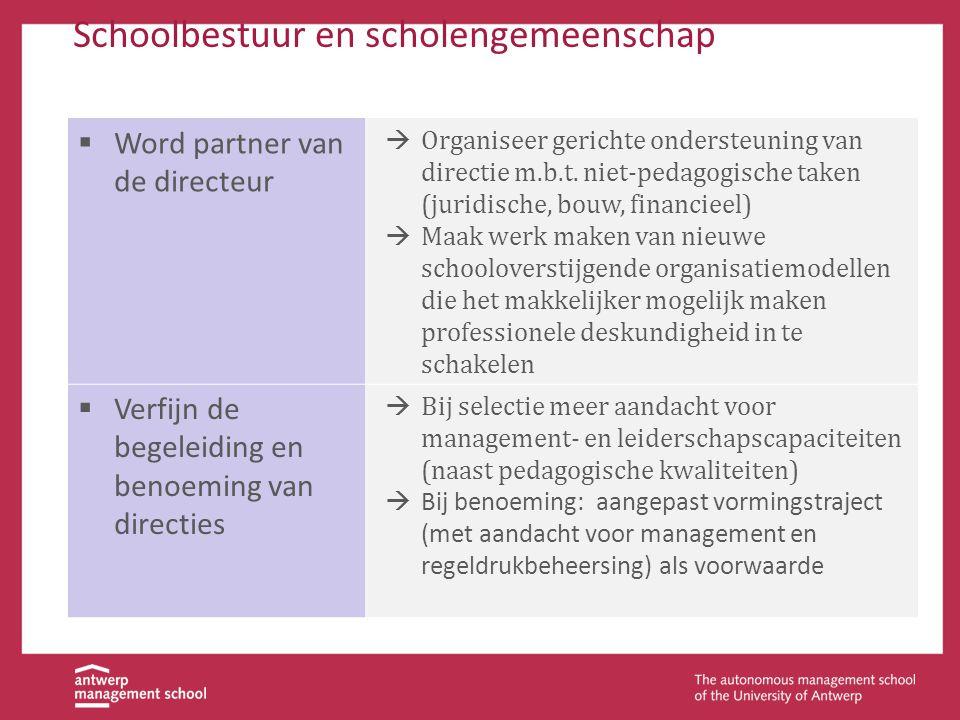 Schoolbestuur en scholengemeenschap  Word partner van de directeur  Organiseer gerichte ondersteuning van directie m.b.t. niet-pedagogische taken (j