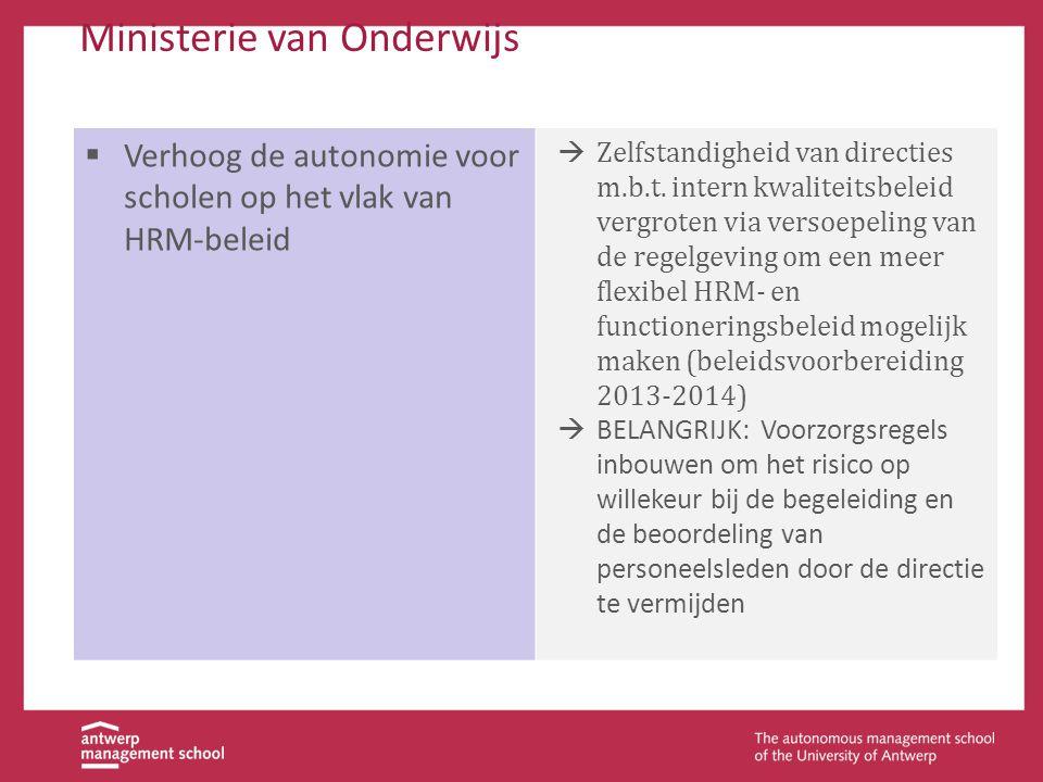 Ministerie van Onderwijs  Verhoog de autonomie voor scholen op het vlak van HRM-beleid  Zelfstandigheid van directies m.b.t. intern kwaliteitsbeleid