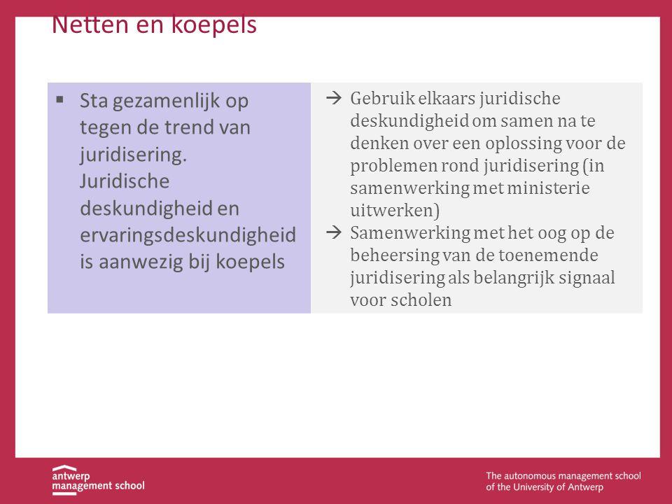 Netten en koepels  Sta gezamenlijk op tegen de trend van juridisering. Juridische deskundigheid en ervaringsdeskundigheid is aanwezig bij koepels  G