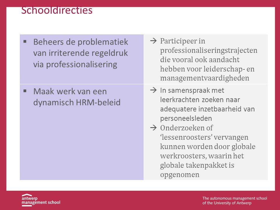 Schooldirecties  Beheers de problematiek van irriterende regeldruk via professionalisering  Participeer in professionaliseringstrajecten die vooral