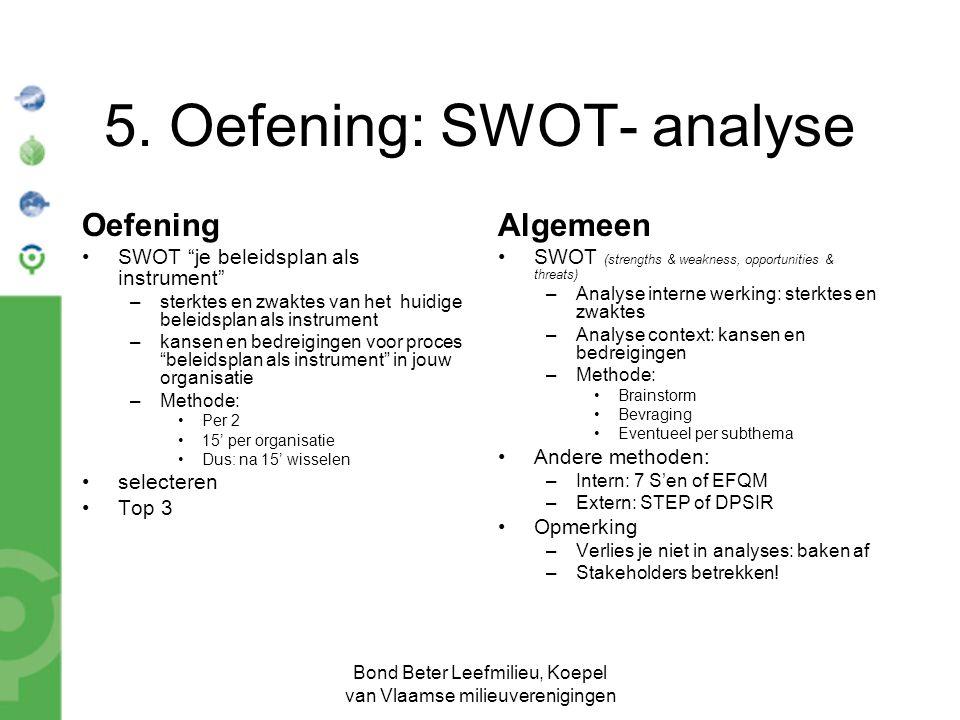 """Bond Beter Leefmilieu, Koepel van Vlaamse milieuverenigingen 5. Oefening: SWOT- analyse Oefening SWOT """"je beleidsplan als instrument"""" –sterktes en zwa"""