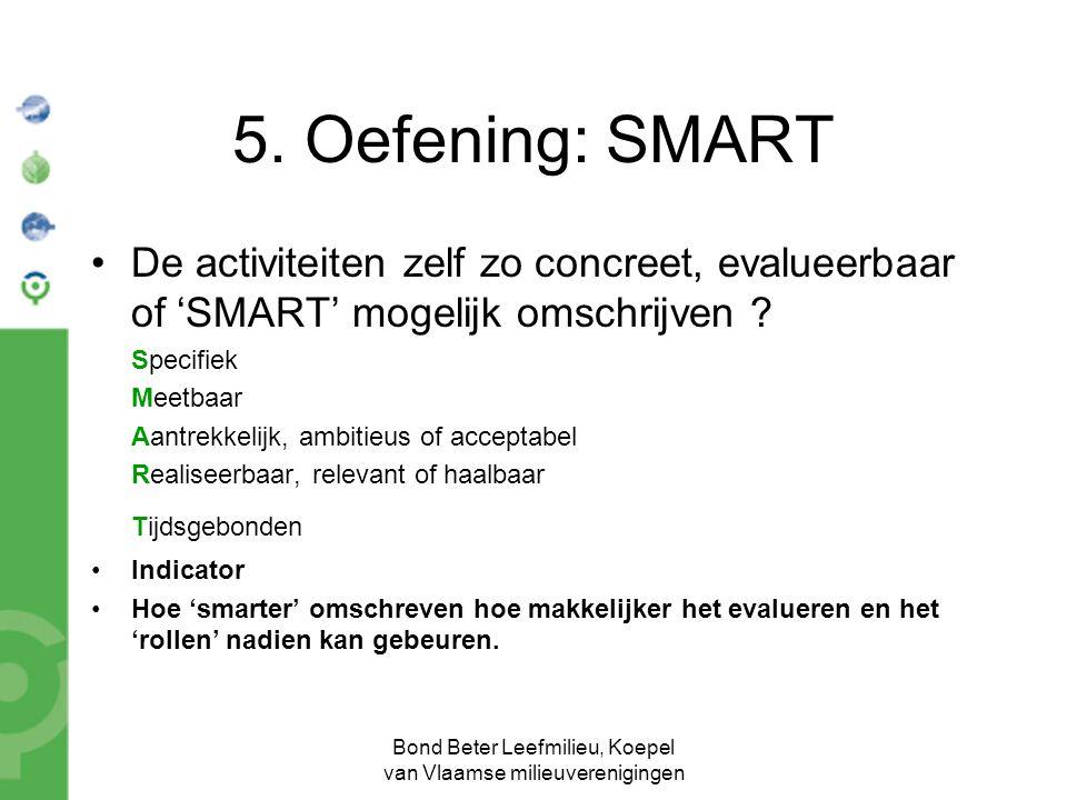 Bond Beter Leefmilieu, Koepel van Vlaamse milieuverenigingen 5. Oefening: SMART De activiteiten zelf zo concreet, evalueerbaar of 'SMART' mogelijk oms