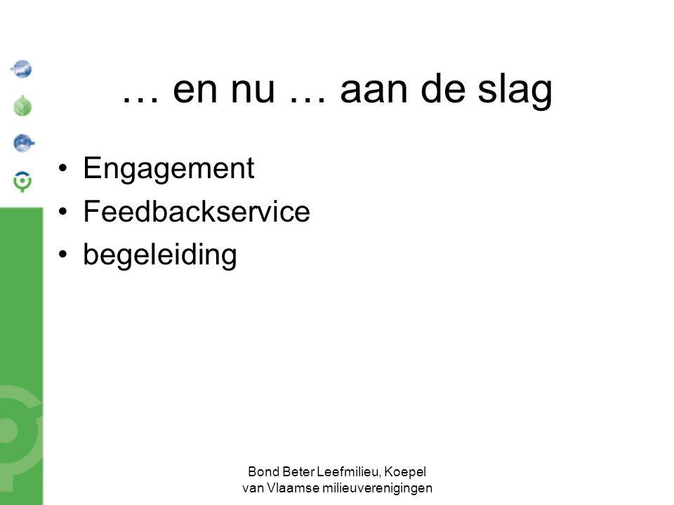 Bond Beter Leefmilieu, Koepel van Vlaamse milieuverenigingen … en nu … aan de slag Engagement Feedbackservice begeleiding