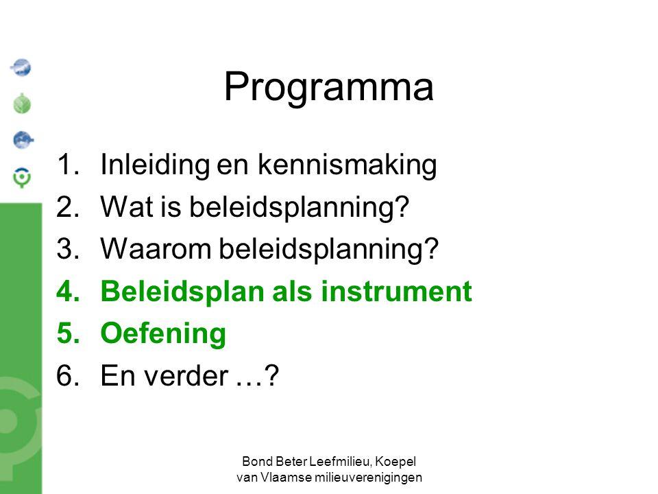 Bond Beter Leefmilieu, Koepel van Vlaamse milieuverenigingen Programma 1.Inleiding en kennismaking 2.Wat is beleidsplanning? 3.Waarom beleidsplanning?