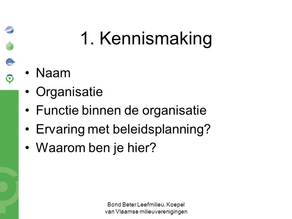 Bond Beter Leefmilieu, Koepel van Vlaamse milieuverenigingen 1. Kennismaking Naam Organisatie Functie binnen de organisatie Ervaring met beleidsplanni