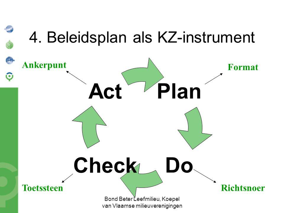 Bond Beter Leefmilieu, Koepel van Vlaamse milieuverenigingen 4. Beleidsplan als KZ-instrument Plan Do Chec k Act Format RichtsnoerToetssteen Ankerpunt