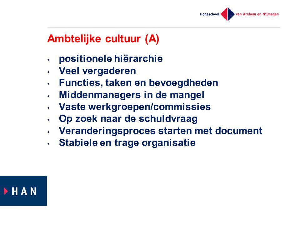 Ambtelijke cultuur (A) positionele hiërarchie Veel vergaderen Functies, taken en bevoegdheden Middenmanagers in de mangel Vaste werkgroepen/commissies