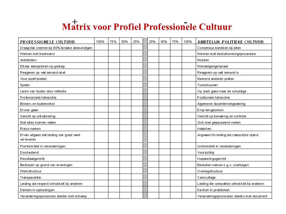 Matrix voor Profiel Professionele Cultuur +-