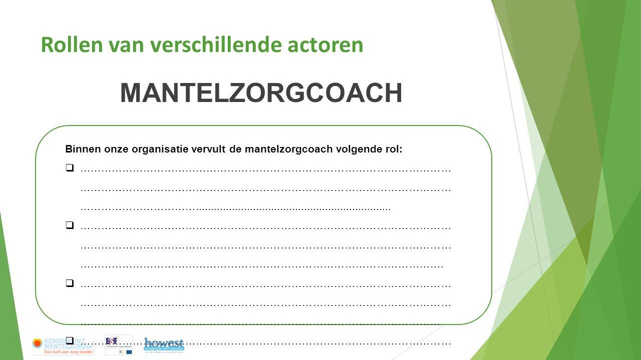 Rollen van verschillende actoren MANTELZORGCOACH Binnen onze organisatie vervult de mantelzorgcoach volgende rol:  …………………………………………………………………………………………