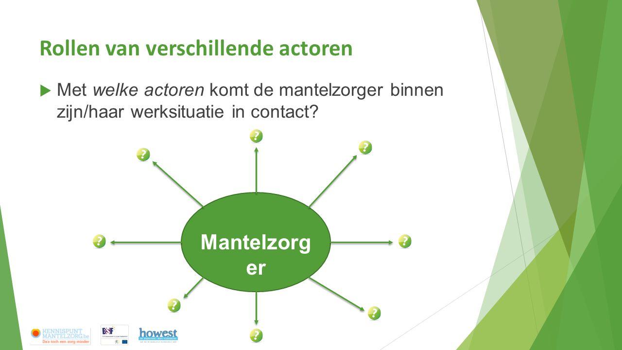 Rollen van verschillende actoren  Met welke actoren komt de mantelzorger binnen zijn/haar werksituatie in contact? Mantelzorg er