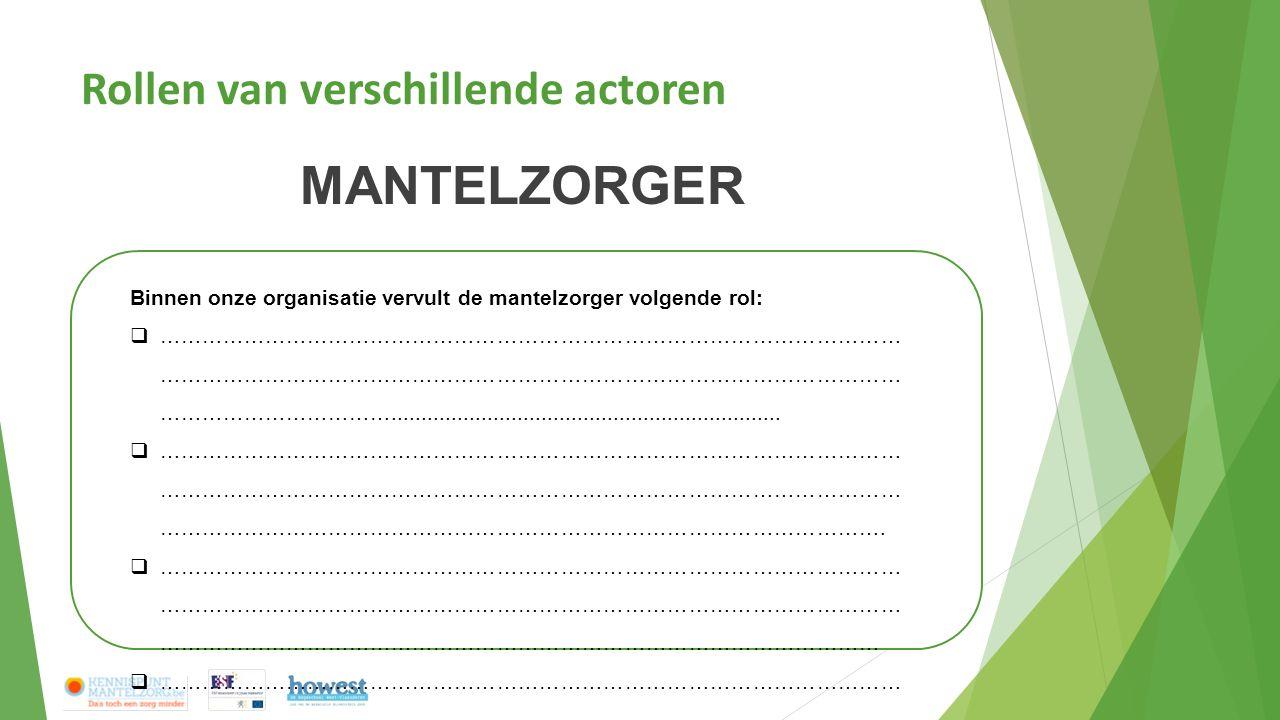 Rollen van verschillende actoren MANTELZORGER Binnen onze organisatie vervult de mantelzorger volgende rol:  …………………………………………………………………………………………… …………