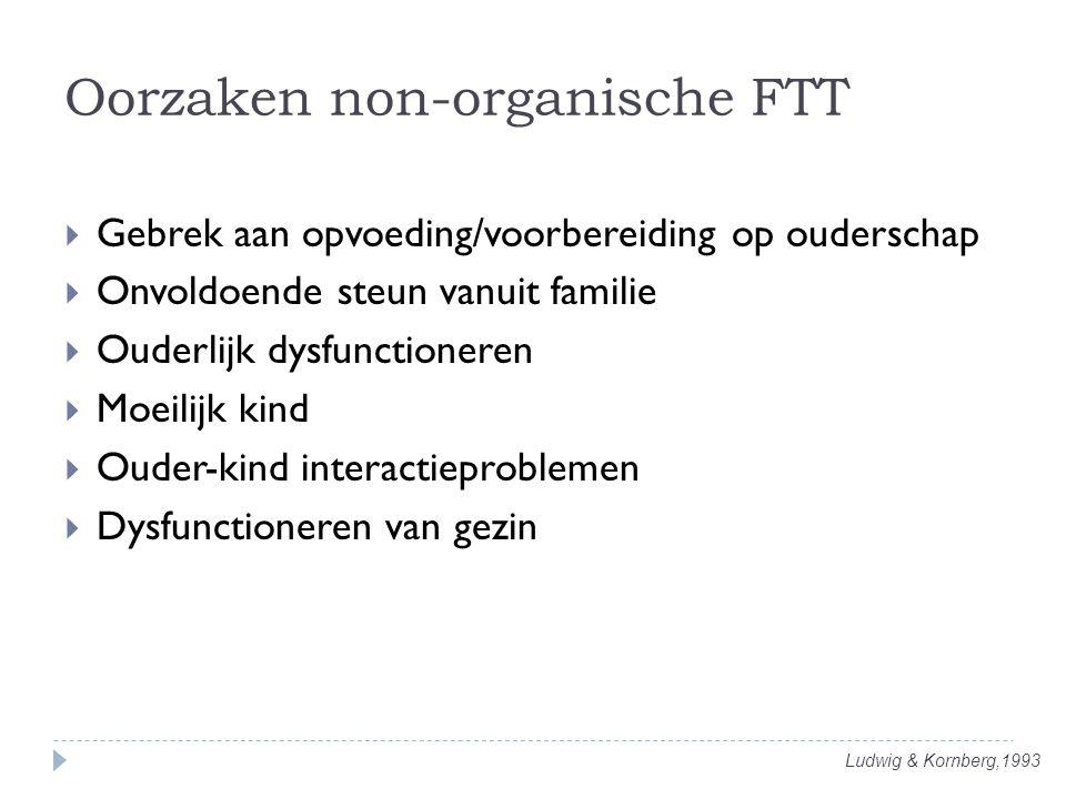 Ludwig & Kornberg,1993 Oorzaken non-organische FTT  Gebrek aan opvoeding/voorbereiding op ouderschap  Onvoldoende steun vanuit familie  Ouderlijk d