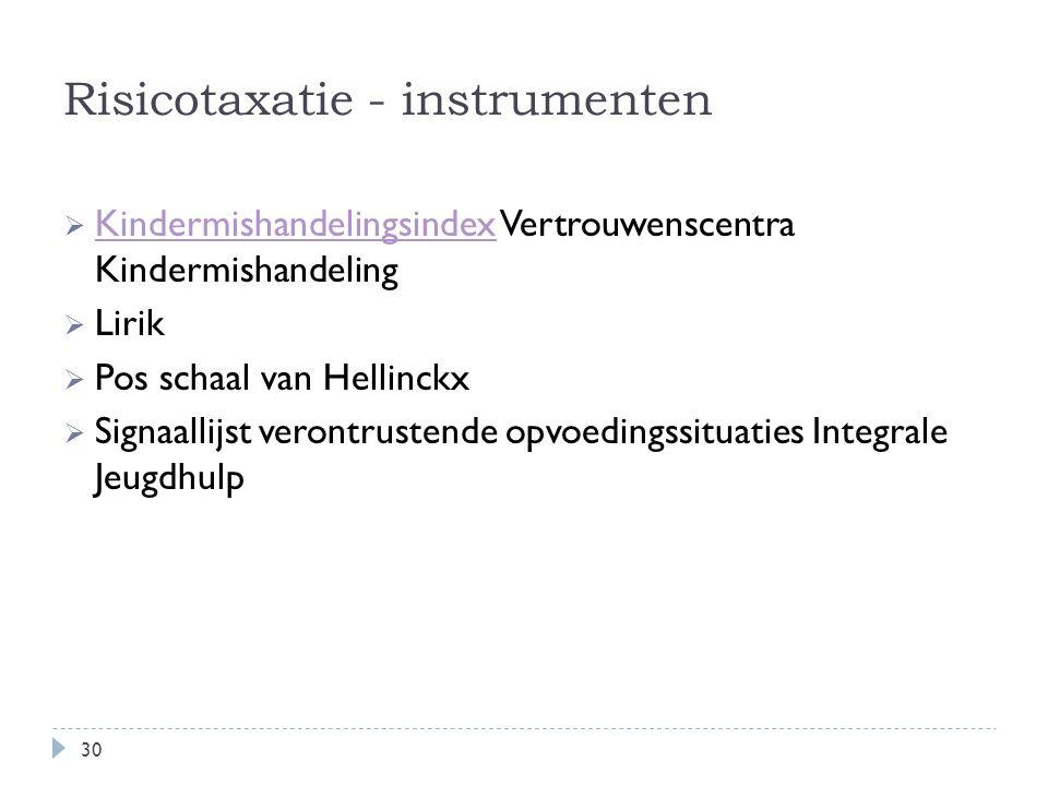 Risicotaxatie - instrumenten  Kindermishandelingsindex Vertrouwenscentra Kindermishandeling Kindermishandelingsindex  Lirik  Pos schaal van Hellinc