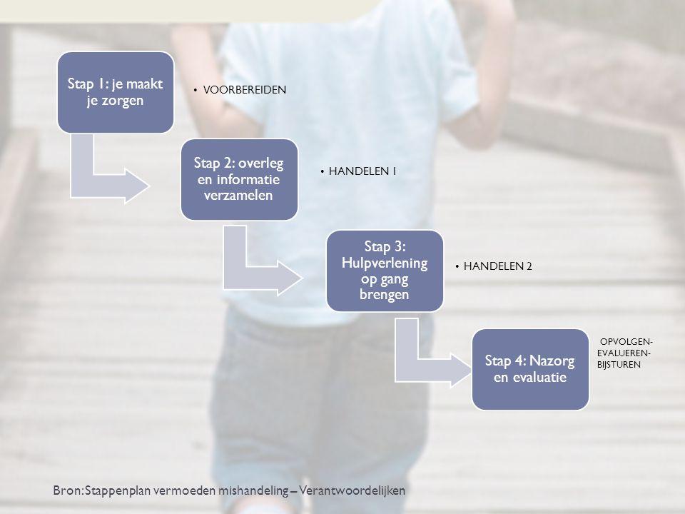 Stap 1: je maakt je zorgen VOORBEREIDEN Stap 2: overleg en informatie verzamelen HANDELEN 1 Stap 3: Hulpverlening op gang brengen HANDELEN 2 Stap 4: N