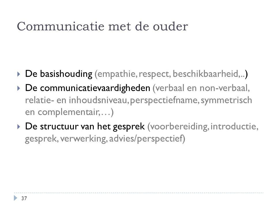  De basishouding (empathie, respect, beschikbaarheid,..)  De communicatievaardigheden (verbaal en non-verbaal, relatie- en inhoudsniveau, perspectie