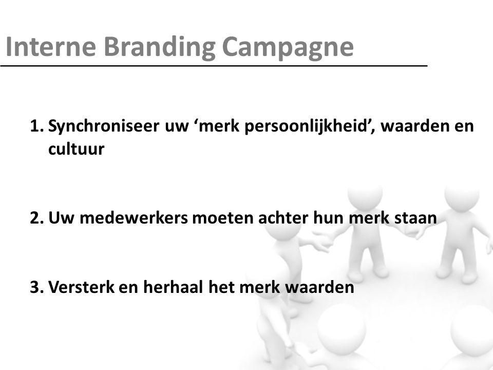Interne Branding Campagne 1.Synchroniseer uw 'merk persoonlijkheid', waarden en cultuur 2.Uw medewerkers moeten achter hun merk staan 3.Versterk en herhaal het merk waarden