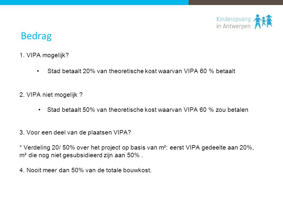 Bedrag 1. VIPA mogelijk? Stad betaalt 20% van theoretische kost waarvan VIPA 60 % betaalt 2. VIPA niet mogelijk ? Stad betaalt 50% van theoretische ko