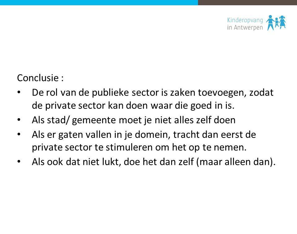 Conclusie : De rol van de publieke sector is zaken toevoegen, zodat de private sector kan doen waar die goed in is. Als stad/ gemeente moet je niet al