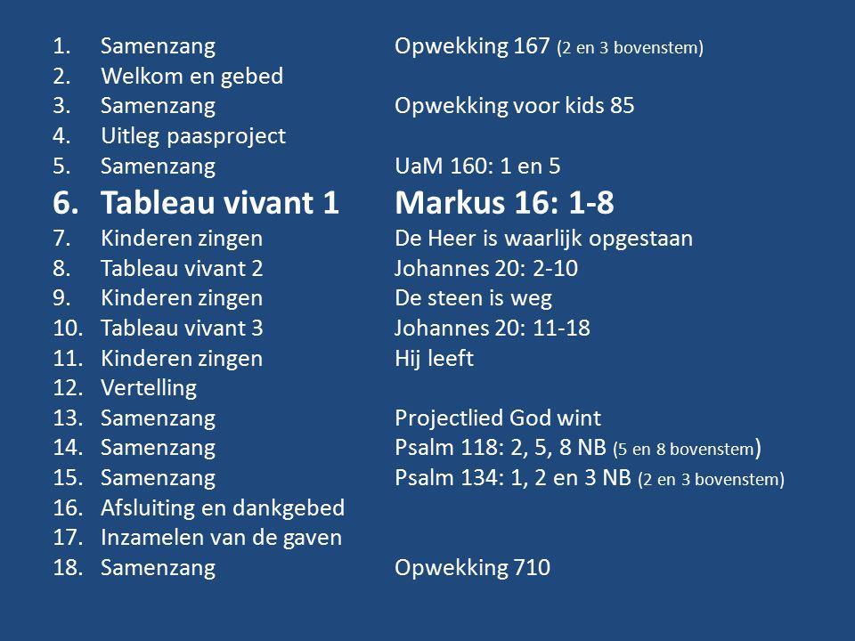 1.Samenzang Opwekking 167 (2 en 3 bovenstem) 2.Welkom en gebed 3.Samenzang Opwekking voor kids 85 4.Uitleg paasproject 5.SamenzangUaM 160: 1 en 5 6.Tableau vivant 1Markus 16: 1-8 7.Kinderen zingenDe Heer is waarlijk opgestaan 8.Tableau vivant 2Johannes 20: 2-10 9.Kinderen zingenDe steen is weg 10.Tableau vivant 3Johannes 20: 11-18 11.Kinderen zingenHij leeft 12.Vertelling 13.Samenzang Projectlied God wint 14.SamenzangPsalm 118: 2, 5, 8 NB (5 en 8 bovenstem ) 15.SamenzangPsalm 134: 1, 2 en 3 NB (2 en 3 bovenstem) 16.Afsluiting en dankgebed 17.Inzamelen van de gaven 18.SamenzangOpwekking 710