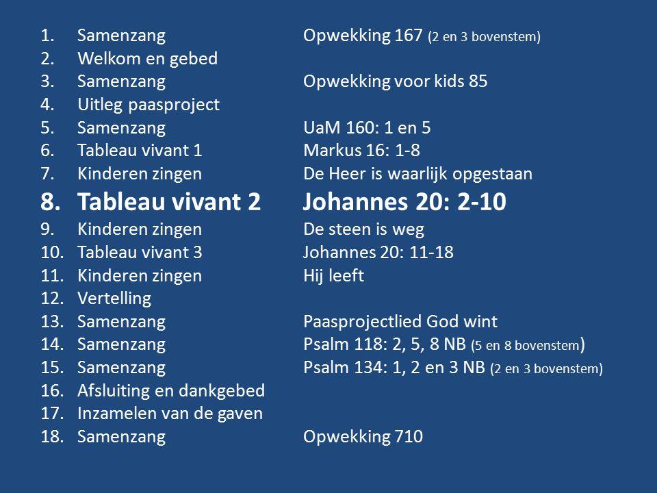 1.Samenzang Opwekking 167 (2 en 3 bovenstem) 2.Welkom en gebed 3.Samenzang Opwekking voor kids 85 4.Uitleg paasproject 5.SamenzangUaM 160: 1 en 5 6.Tableau vivant 1Markus 16: 1-8 7.Kinderen zingenDe Heer is waarlijk opgestaan 8.Tableau vivant 2Johannes 20: 2-10 9.Kinderen zingenDe steen is weg 10.Tableau vivant 3Johannes 20: 11-18 11.Kinderen zingenHij leeft 12.Vertelling 13.Samenzang Paasprojectlied God wint 14.SamenzangPsalm 118: 2, 5, 8 NB (5 en 8 bovenstem ) 15.SamenzangPsalm 134: 1, 2 en 3 NB (2 en 3 bovenstem) 16.Afsluiting en dankgebed 17.Inzamelen van de gaven 18.SamenzangOpwekking 710