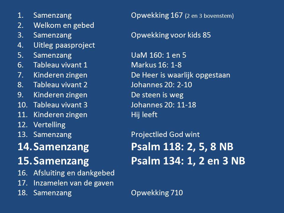 1.Samenzang Opwekking 167 (2 en 3 bovenstem) 2.Welkom en gebed 3.Samenzang Opwekking voor kids 85 4.Uitleg paasproject 5.SamenzangUaM 160: 1 en 5 6.Tableau vivant 1Markus 16: 1-8 7.Kinderen zingenDe Heer is waarlijk opgestaan 8.Tableau vivant 2Johannes 20: 2-10 9.Kinderen zingenDe steen is weg 10.Tableau vivant 3Johannes 20: 11-18 11.Kinderen zingenHij leeft 12.Vertelling 13.Samenzang Projectlied God wint 14.SamenzangPsalm 118: 2, 5, 8 NB 15.SamenzangPsalm 134: 1, 2 en 3 NB 16.Afsluiting en dankgebed 17.Inzamelen van de gaven 18.SamenzangOpwekking 710