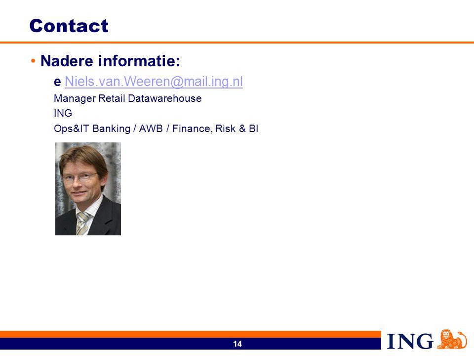 14 Contact Nadere informatie: e Niels.van.Weeren@mail.ing.nlNiels.van.Weeren@mail.ing.nl Manager Retail Datawarehouse ING Ops&IT Banking / AWB / Finance, Risk & BI