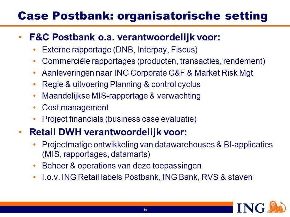 5 Case Postbank: organisatorische setting F&C Postbank o.a. verantwoordelijk voor: Externe rapportage (DNB, Interpay, Fiscus) Commerciële rapportages