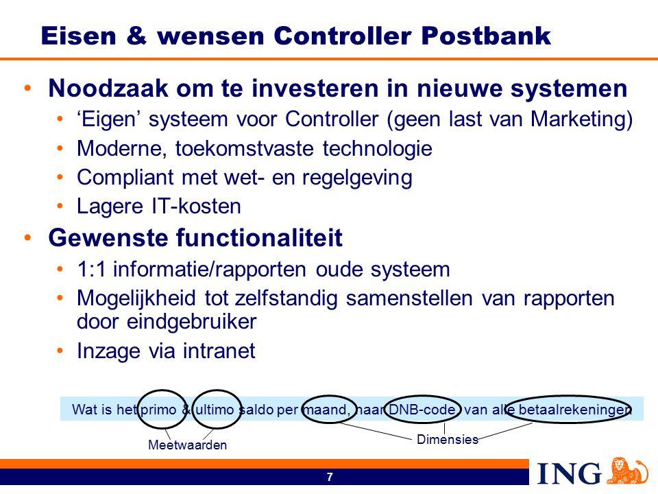 7 Eisen & wensen Controller Postbank Noodzaak om te investeren in nieuwe systemen 'Eigen' systeem voor Controller (geen last van Marketing) Moderne, t