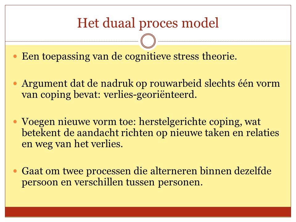 Het duaal proces model Een toepassing van de cognitieve stress theorie. Argument dat de nadruk op rouwarbeid slechts één vorm van coping bevat: verlie