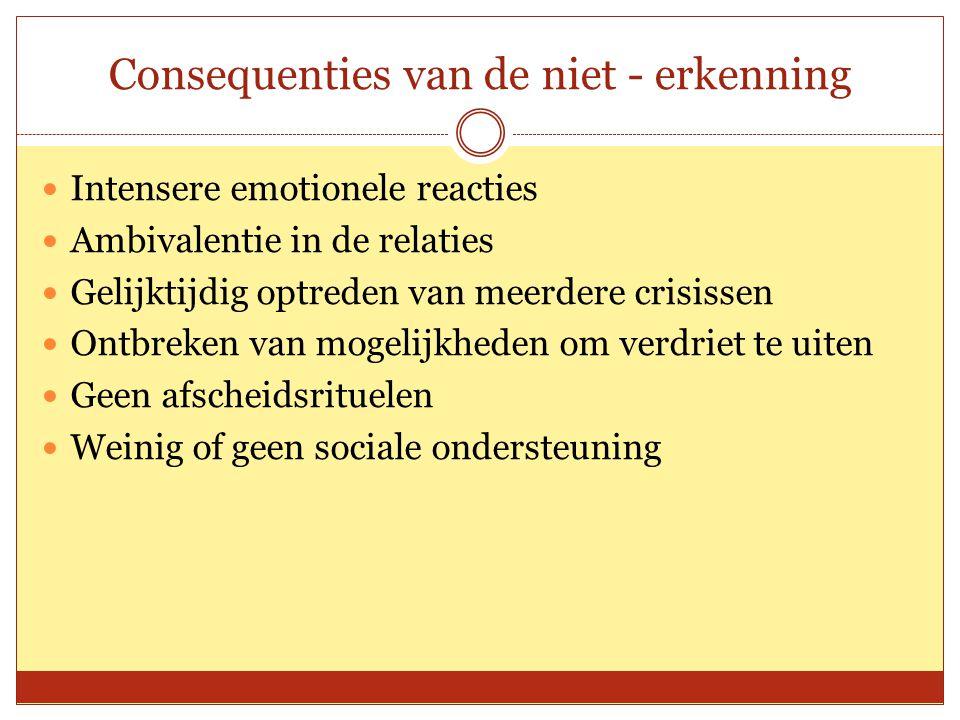 Consequenties van de niet - erkenning Intensere emotionele reacties Ambivalentie in de relaties Gelijktijdig optreden van meerdere crisissen Ontbreken