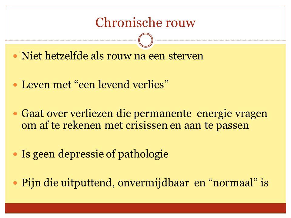 """Chronische rouw Niet hetzelfde als rouw na een sterven Leven met """"een levend verlies"""" Gaat over verliezen die permanente energie vragen om af te reken"""
