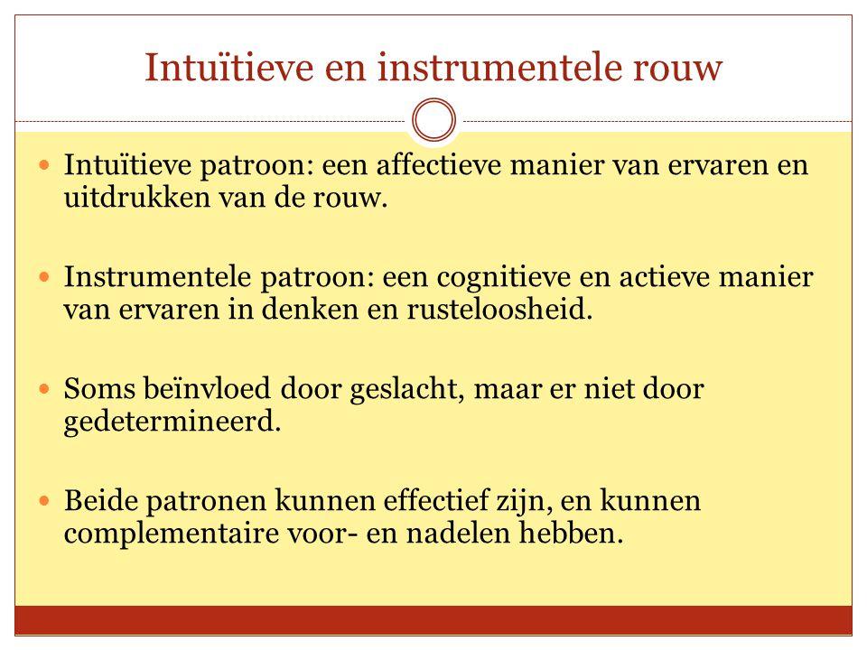 Intuïtieve en instrumentele rouw Intuïtieve patroon: een affectieve manier van ervaren en uitdrukken van de rouw. Instrumentele patroon: een cognitiev