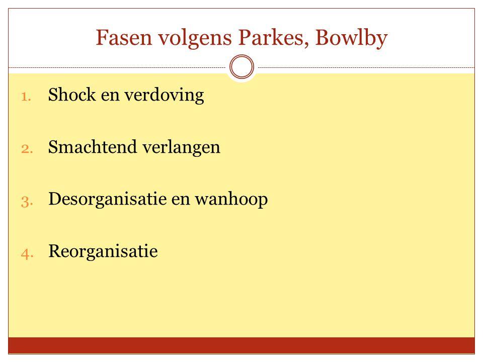 Fasen volgens Parkes, Bowlby 1. Shock en verdoving 2. Smachtend verlangen 3. Desorganisatie en wanhoop 4. Reorganisatie