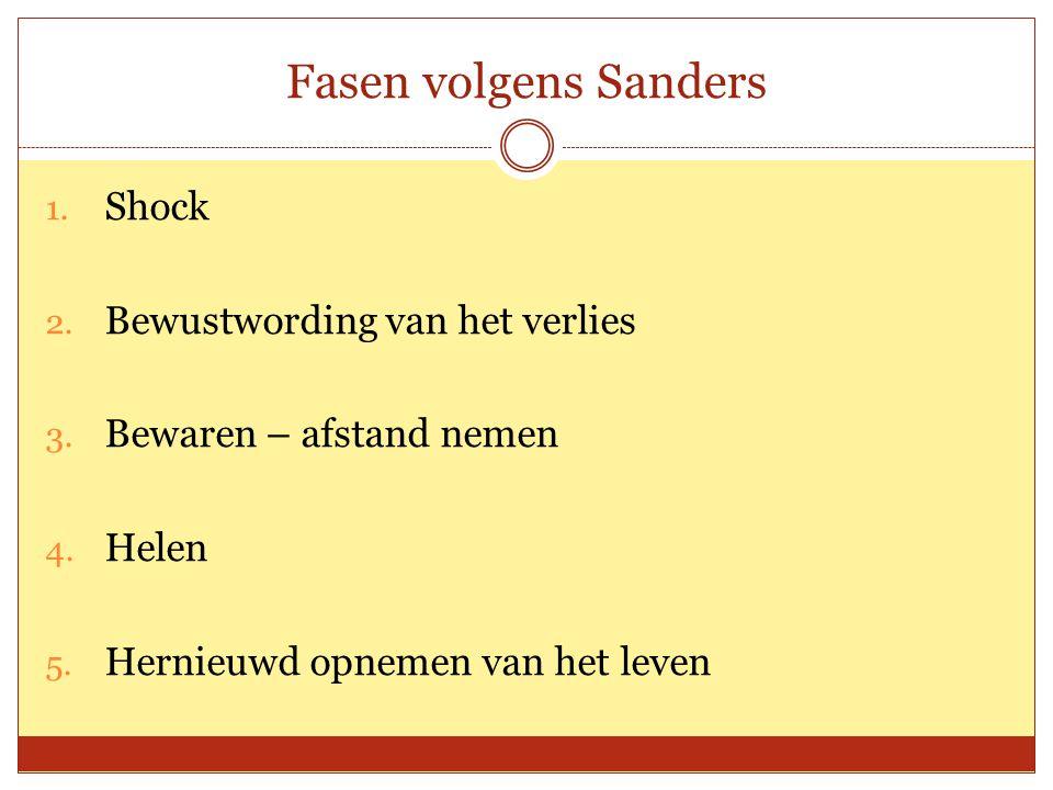 Fasen volgens Sanders 1. Shock 2. Bewustwording van het verlies 3. Bewaren – afstand nemen 4. Helen 5. Hernieuwd opnemen van het leven