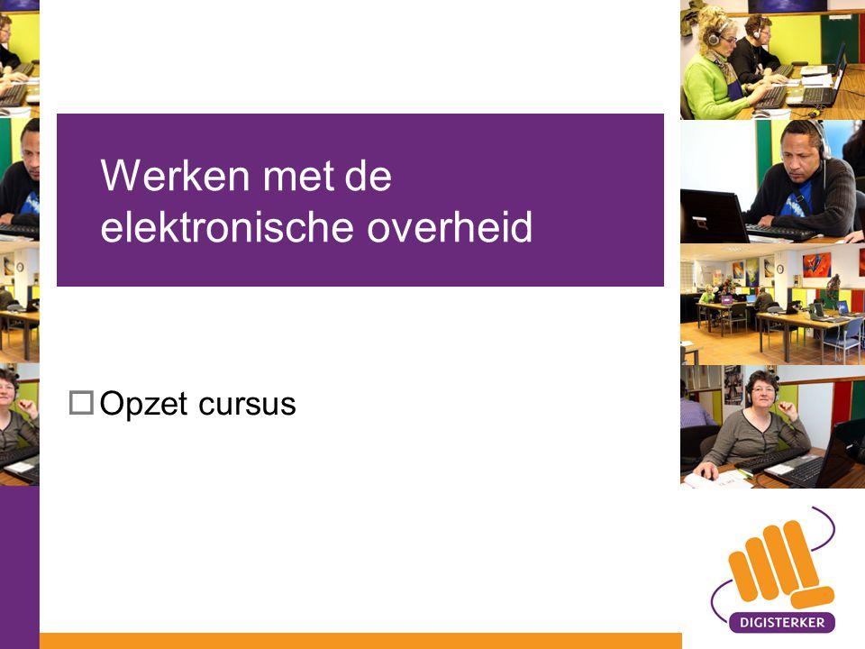  Opzet cursus Werken met de elektronische overheid