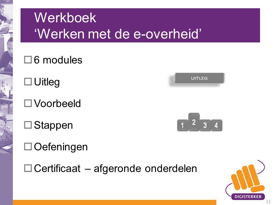 Werkboek 'Werken met de e-overheid'  6 modules  Uitleg  Voorbeeld  Stappen  Oefeningen  Certificaat – afgeronde onderdelen 12