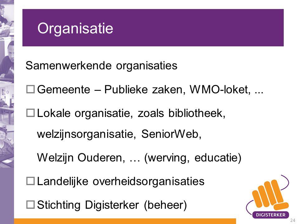 Organisatie Samenwerkende organisaties  Gemeente – Publieke zaken, WMO-loket,...  Lokale organisatie, zoals bibliotheek, welzijnsorganisatie, Senior
