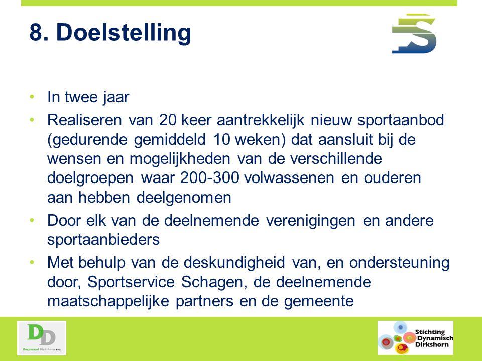 8. Doelstelling In twee jaar Realiseren van 20 keer aantrekkelijk nieuw sportaanbod (gedurende gemiddeld 10 weken) dat aansluit bij de wensen en mogel