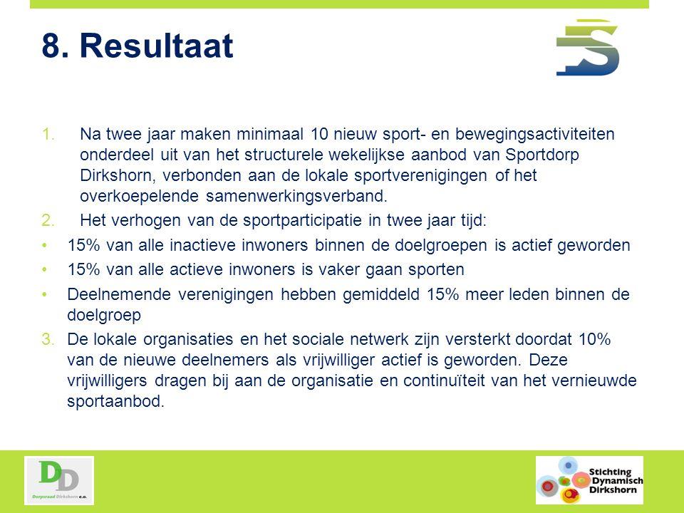 8. Resultaat 1.Na twee jaar maken minimaal 10 nieuw sport- en bewegingsactiviteiten onderdeel uit van het structurele wekelijkse aanbod van Sportdorp