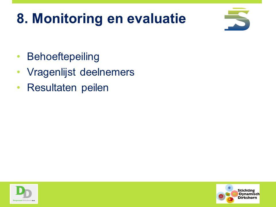 8. Monitoring en evaluatie Behoeftepeiling Vragenlijst deelnemers Resultaten peilen