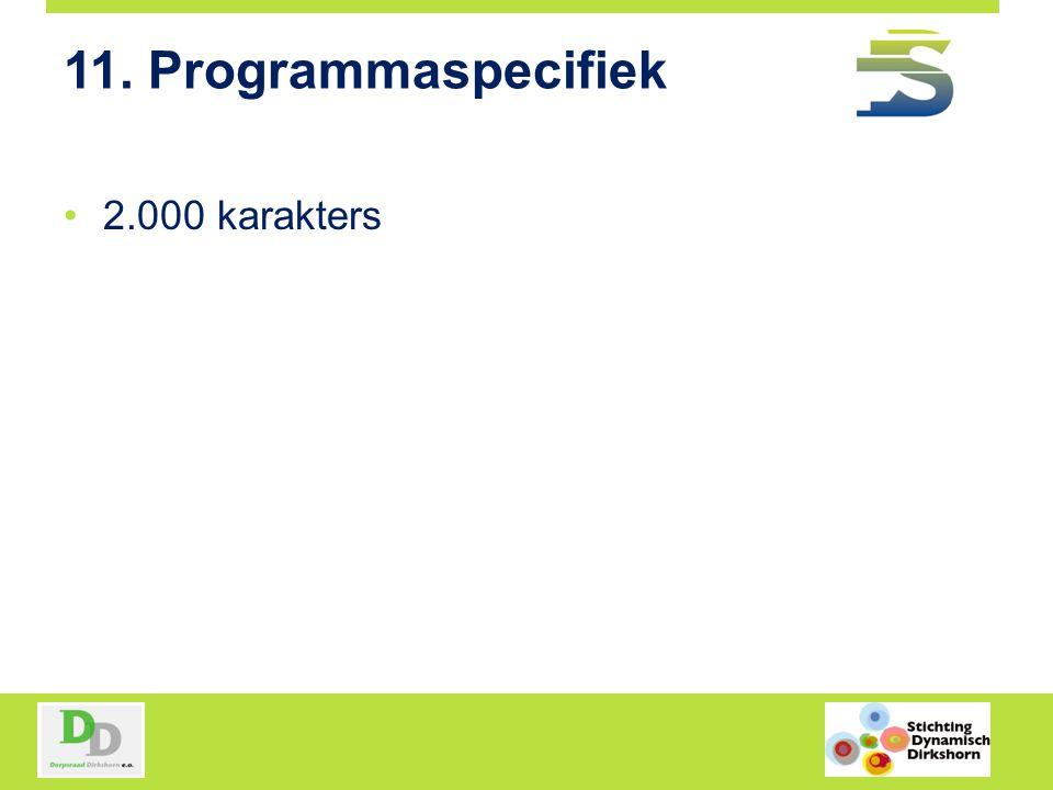 11. Programmaspecifiek 2.000 karakters