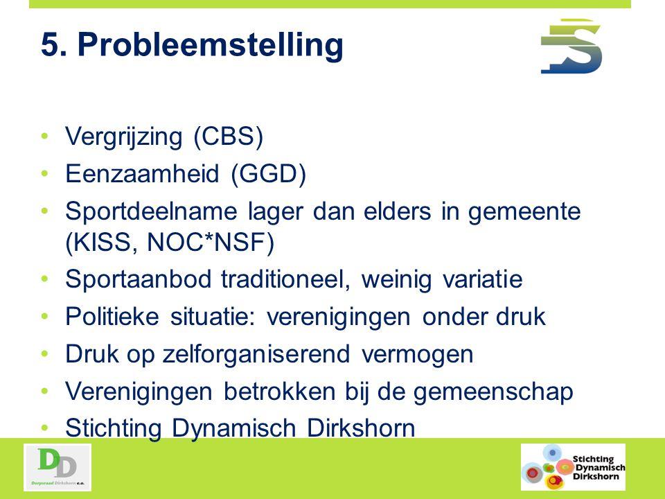 5. Probleemstelling Vergrijzing (CBS) Eenzaamheid (GGD) Sportdeelname lager dan elders in gemeente (KISS, NOC*NSF) Sportaanbod traditioneel, weinig va