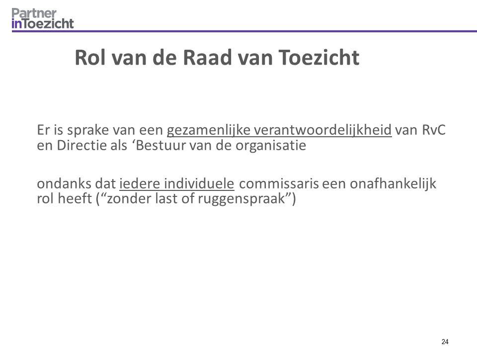 Rol van de Raad van Toezicht Er is sprake van een gezamenlijke verantwoordelijkheid van RvC en Directie als 'Bestuur van de organisatie ondanks dat ie